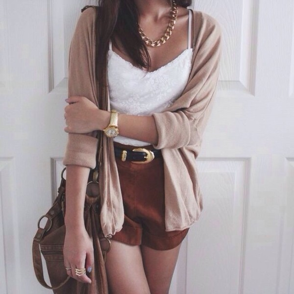 jacket shorts jewels tank top bag belt