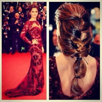 dress prom dress backless red dress cheryl cole cheryl cole style red ball gown dress wedding dress awards dress designer fishtail fishtail braid singer formal homecoming long