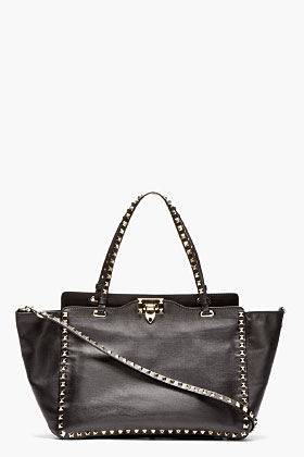 Valentino Black Leather Medium Rockstud Tote for women | SSENSE