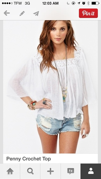 shirt white penny lose summer lace pinterest summer outfits buy clothes boutique flowy crochet