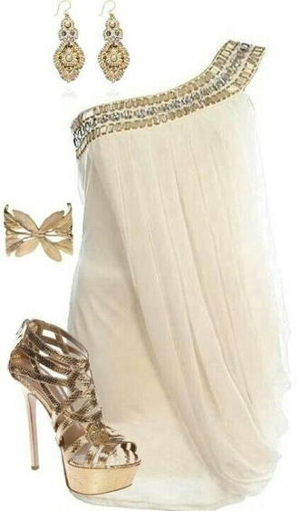 dress white dress jewels shoes egyptian one shoulder party dress