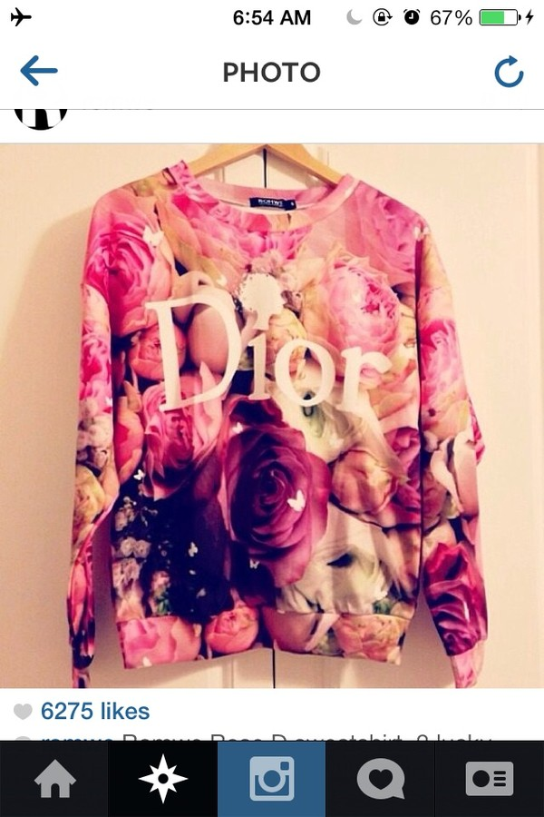 sweater dior flowers pink girly