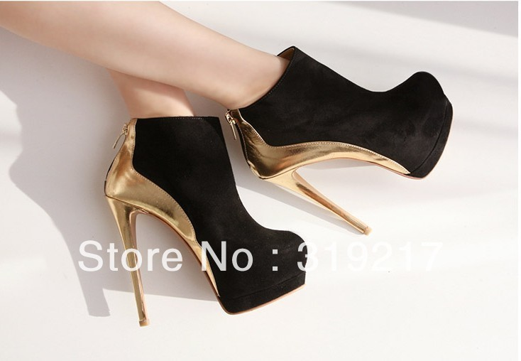 Hotting,Two Styles Spell Black With Gold Color High Heels Lady Ankle Boots Women Heel Shos Boot Free Shipping-in Boots from Shoes on Aliexpress.com