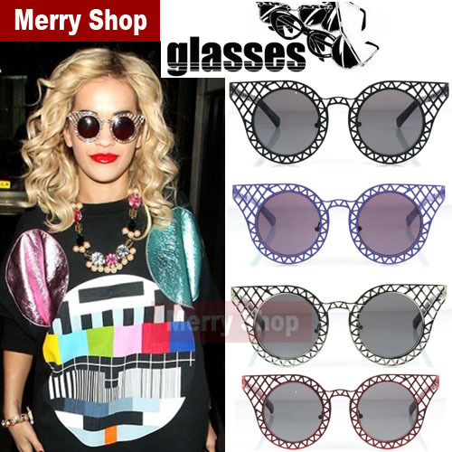 Retro  Hot 2014 Women Unique Millionaire Girl Inspired Fashion Oversize Round Cat Eye Metal Mesh Hollow Frame Round Sunglasses-in Sunglasses from Apparel & Accessories on Aliexpress.com