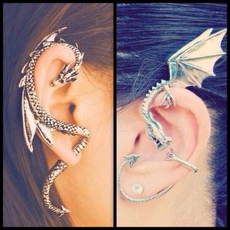 jewels earrings stud earrings dragon silver earrings gold earrings ear cuff