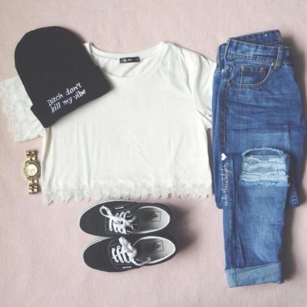 hat t-shirt jeans