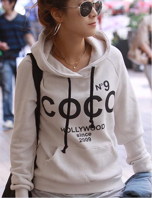 COCO No.9 Print Drawstring Hoodie Sweatshirt