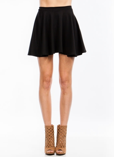 Let's-Play-Flare-Skater-Skirt BLACK BURGUNDY IVORY MOCHA NEONYELLOW PINK ROYAL - GoJane.com