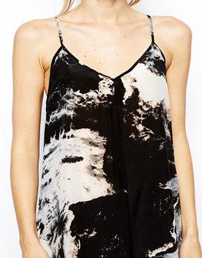 Aryn K   Aryn K Printed Silk Maxi Dress with Uneven Hem at ASOS