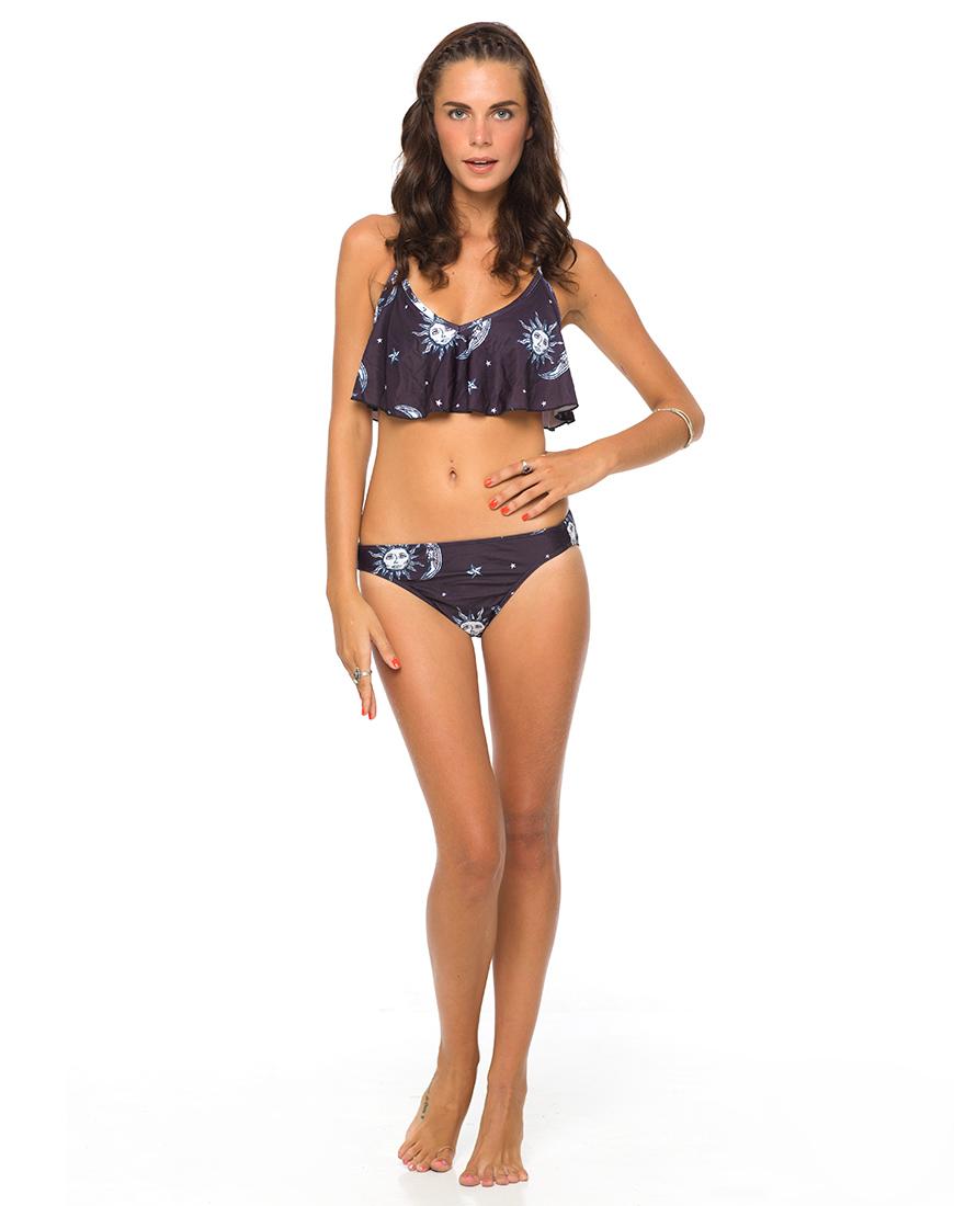 Buy Motel Sky Frill Bikini Top in Black and White Sun Moon And Star  at Motel Rocks