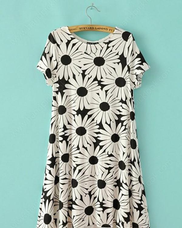 dress floral dress black and white dress floral daisy dress summer skirt monochrome