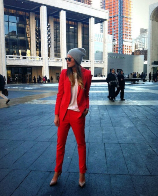 pants blazer jacket red jeans glasses beanie grey suit hat shirt red pants