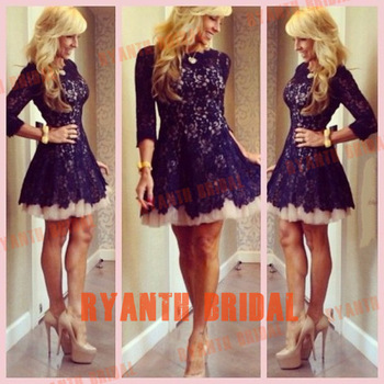 RBC058 New 2014 Cute Short Mini Lace 3/4 Sleeve Slim Girl Cocktail Party Dresses Fancy Custom For Special Occasion-in Cocktail Dresses from Apparel & Accessories on Aliexpress.com