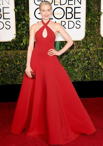 dress taylor schilling red dress Golden Globes 2015