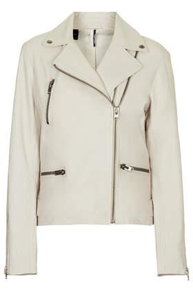 Soft Leather Double Zip Biker Jacket - Topshop USA