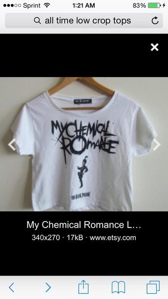 t-shirt black letters my chemical romance white