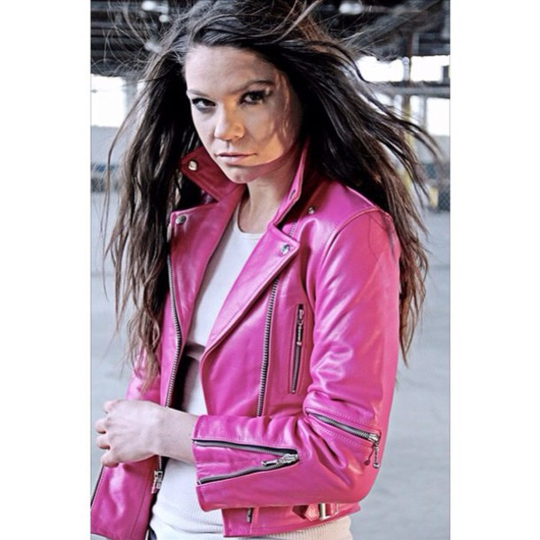 jacket pink leather leather jacket style fall outfits fall outfits gorgeous