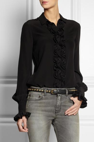 Saint Laurent|Monet studded leather belt|NET-A-PORTER.COM