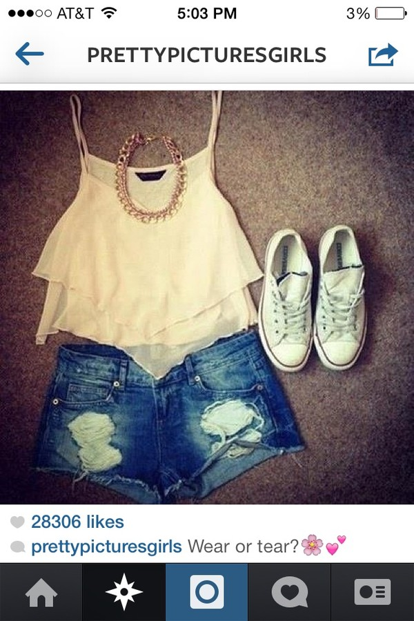 blouse lace flowy top shorts shoes jewels