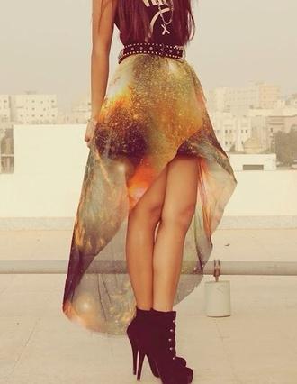 skirt clothes galaxy print galaxy skirt long back midi skirt cute  outfits shoes black black  high heels