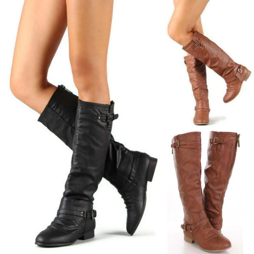 New Women's Zipper Military Flat Heel Buckle Riding Knee High Boots Shoes Size | eBay
