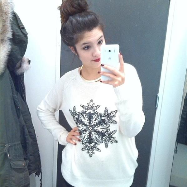 sweater white sweathirt snowflake sweater