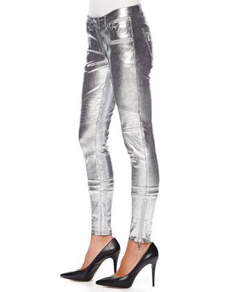 MICHAEL Michael Kors  Metallic Leather Moto Pants - Michael Kors
