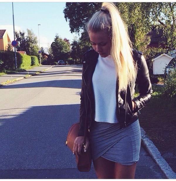 skirt black bag t-shirt jacket shirt