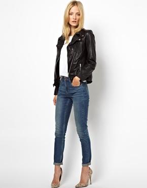 Selected | Selected Foama Leather Biker Jacket at ASOS