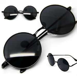 New Vintage Retro Men Women Round Metal Frame Sunglasses Glasses Shades Black   eBay