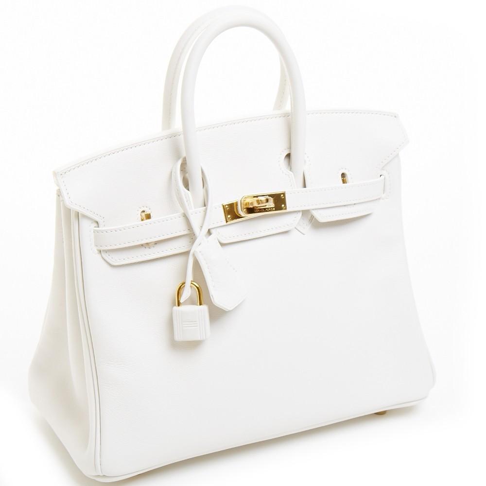 Hermes White Swift Leather 25cm Birkin Bag   Portero Luxury