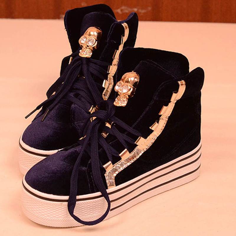 Spring fashion lady sneaker shoes luxury skull high top lacing velvet women's platform shoes / free shipping-inPumps from Shoes on Aliexpress.com