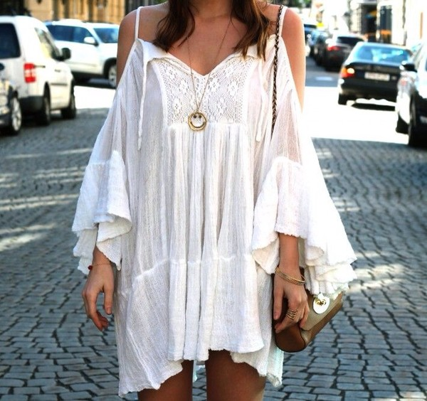 dress white dress boho bohemian cut-out dress