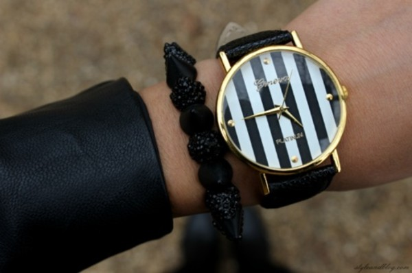 jewels geneva watch stripes black white