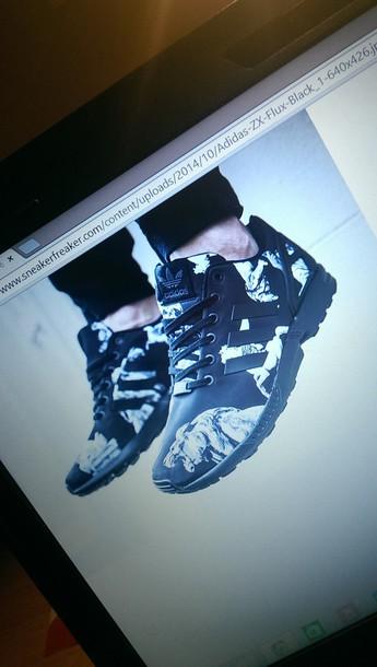 shoes adidas zx flux black shoes adidas print cool
