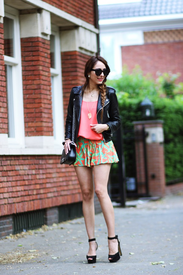 preppy fashionist sunglasses top jacket jewels shorts shoes bag