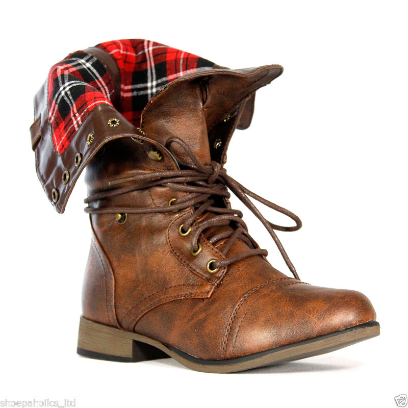 Plaid Cuff Lace Up Military Mid Calf Combat Boots Brown Size 5 5 to 10 | eBay