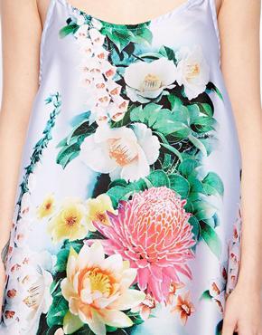 True Decadence Petite   True Decadence Petite Satin Cami Dress in Tropical Floral Print at ASOS