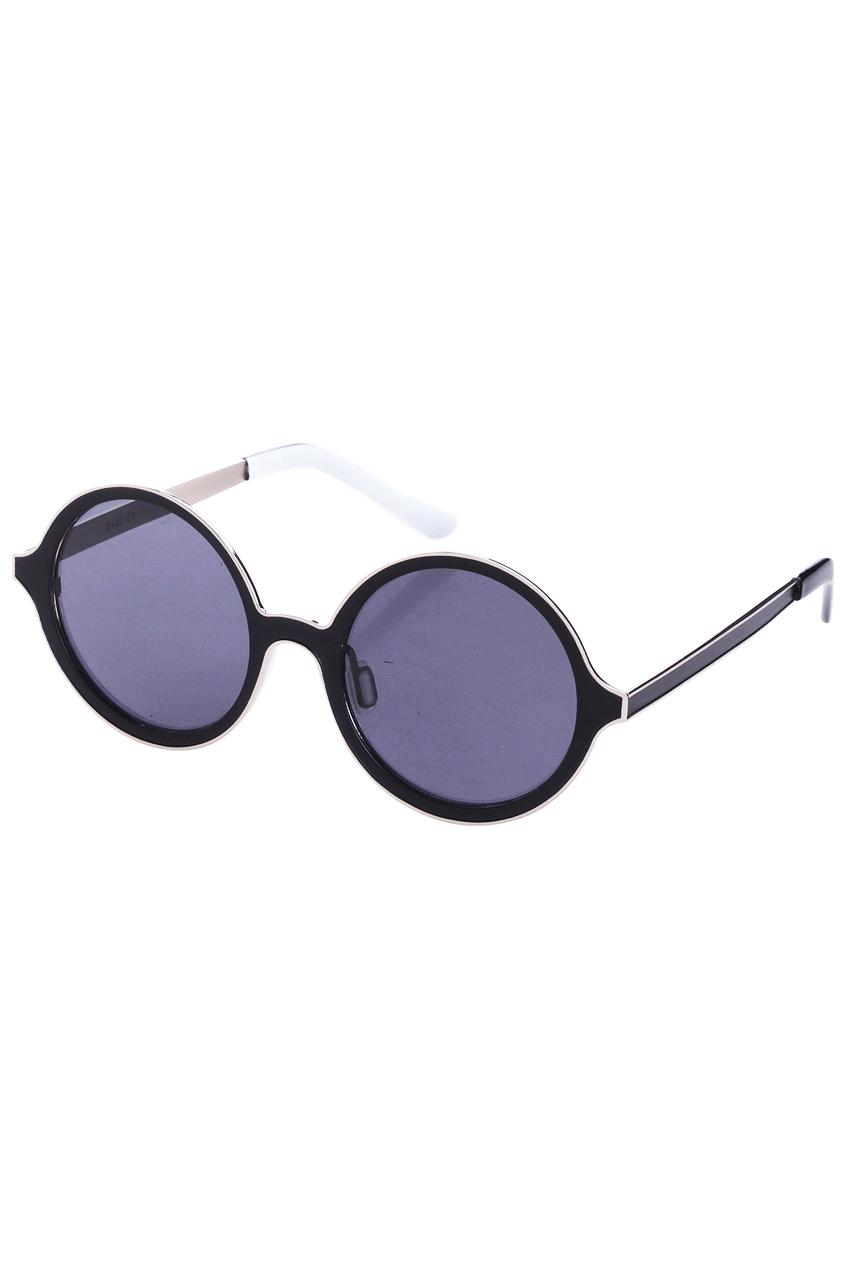 ROMWE | Splicing Black Round Sunglasses, The Latest Street Fashion
