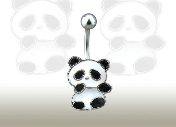 jewels black white panda bear cute belly button ring