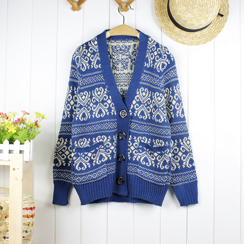 2012 winter cardigan pattern breasted loose sweater outerwear blue and white porcelain vintage knitted cardigan female-inCardigans from Apparel & Accessories on Aliexpress.com