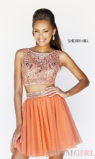 Beaded Two Piece Prom Dress, Crop Top Short Party Dress- PromGirl