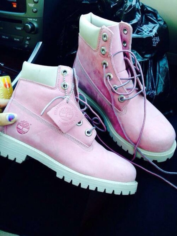 shoes timberlands boots pink pastel