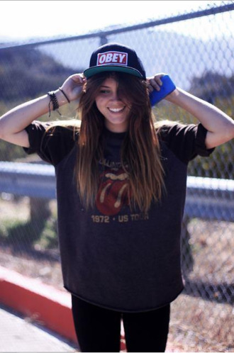 t-shirt the rolling stones hat cap obey girl green black shirt clothes swag skateboard yolo skater girl top the stones official tights