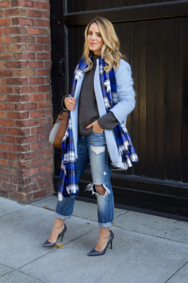 gal meets glam coat sweater jeans shoes bag scarf