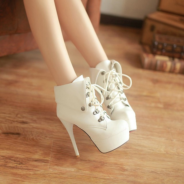 2013 new fashion sexy platform heels lace women ankle boots red sole black white big and small size 31 43-in Boots from Shoes on Aliexpress.com