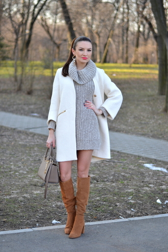 my silk fairytale blogger coat sweater dress knitwear knitted dress white coat suede boots sweater shoes bag jewels