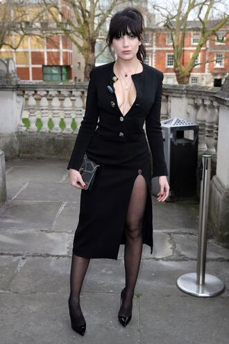 dress daisy lowe streetstyle plunge dress midi dress slit dress london fashion week 2017 fashion week 2017 black dress