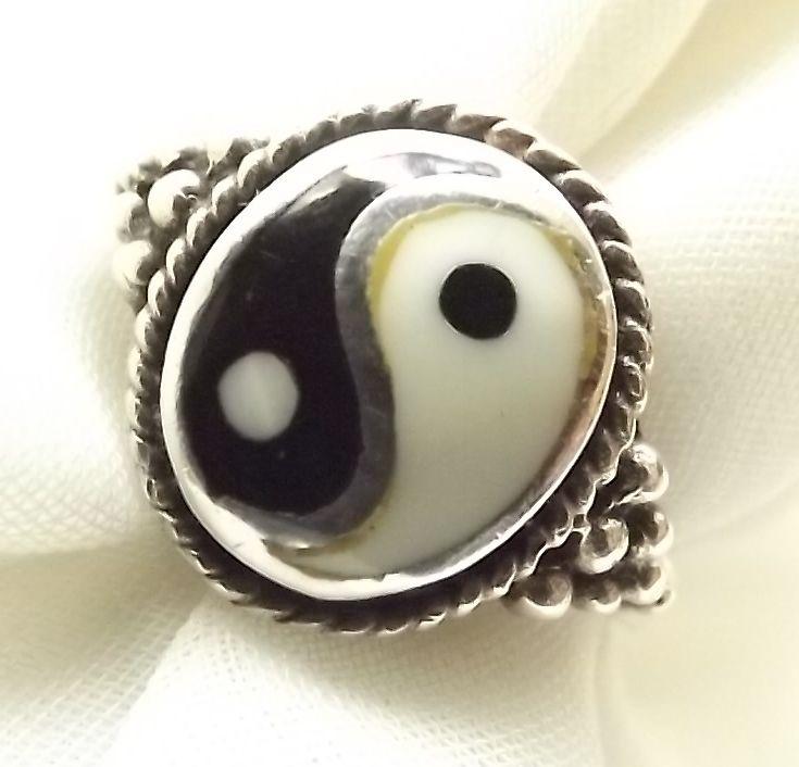 Stylish Sterling Silver Enamel Ying Yang Ring Feng Shui Ring R0589 | eBay