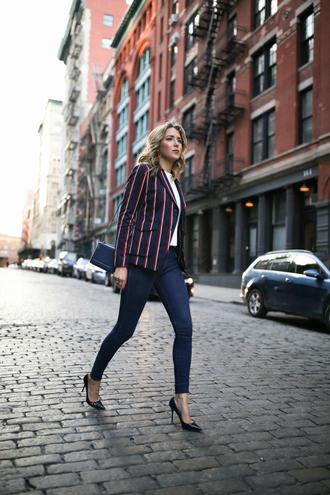 memorandum blogger jacket sweater jeans shoes jewels bag blazer skinny jeans pumps high heel pumps